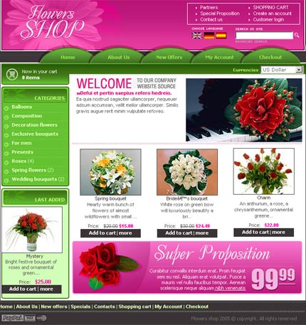 Flowers osCommerce template