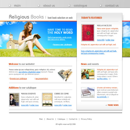 Religious books html & flash template