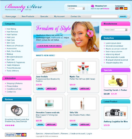 Beauty store osCommerce template