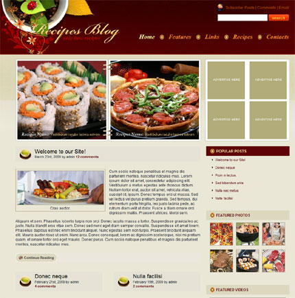 Recipes flash flipbook wordpress theme