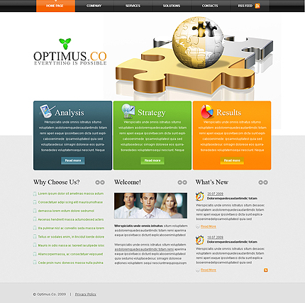 Optimus business CMS flash template