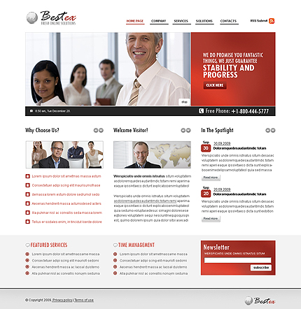 Red and gray business CMS flash template