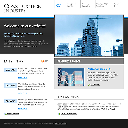 Construction company CSS template