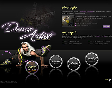 Dance artist flash gallery template