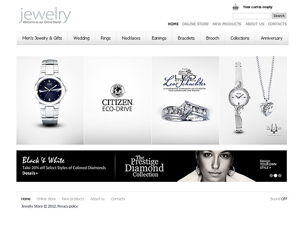 Jewelry Ecommerce Flash Template With CMS