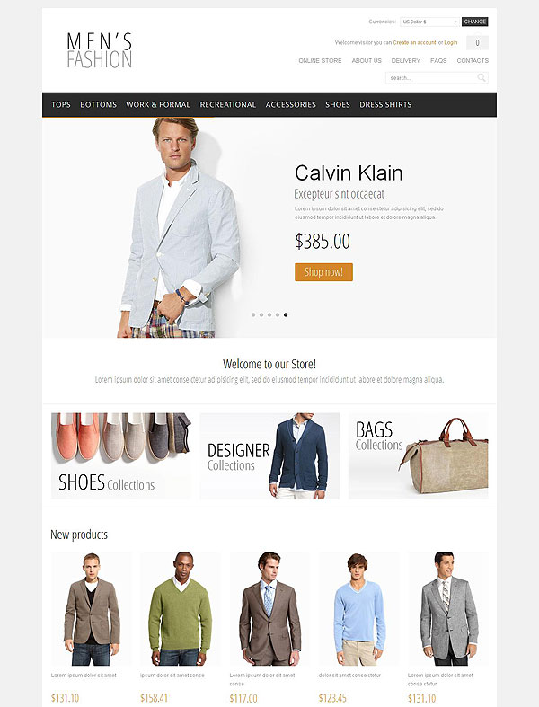 Mens Clothing Template For Virtuemart