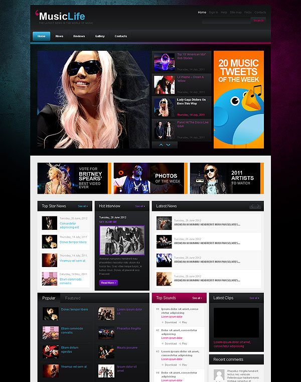 Music News Wordpress Template