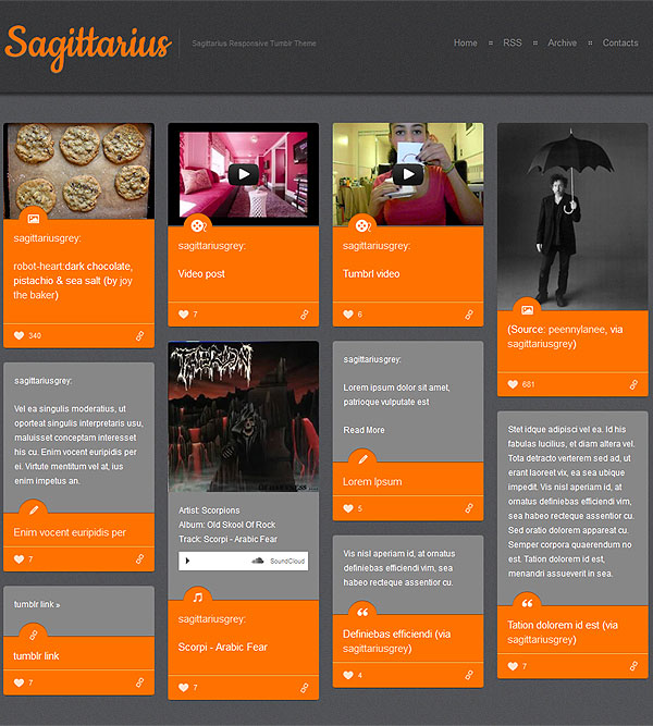 Orange Responsive Tumblr Theme
