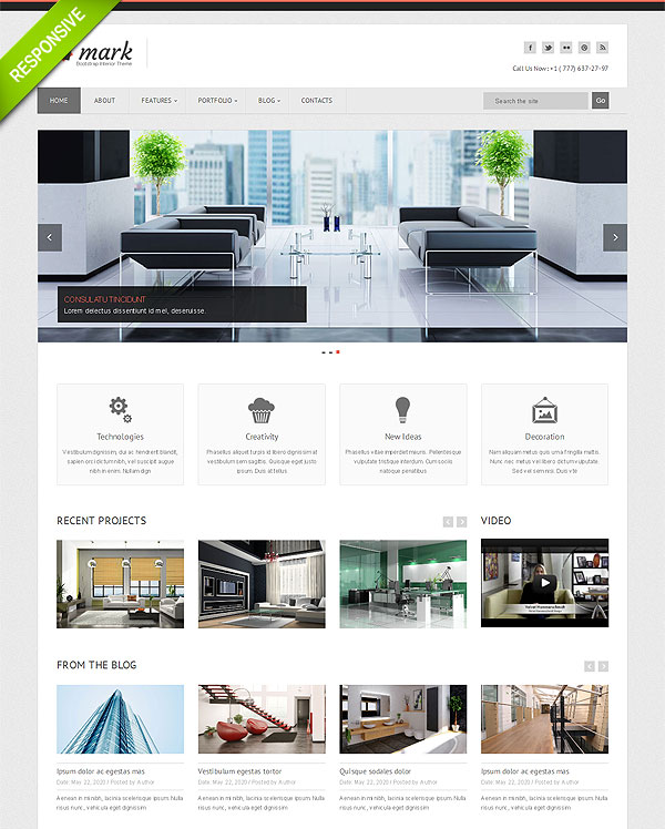 Interior Twitter Bootstrap Template