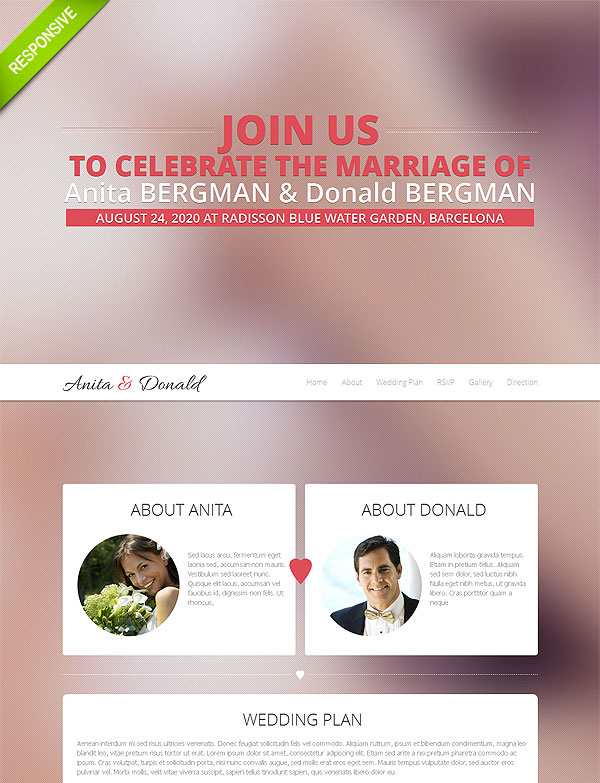 Wedding One Page Responsive Template