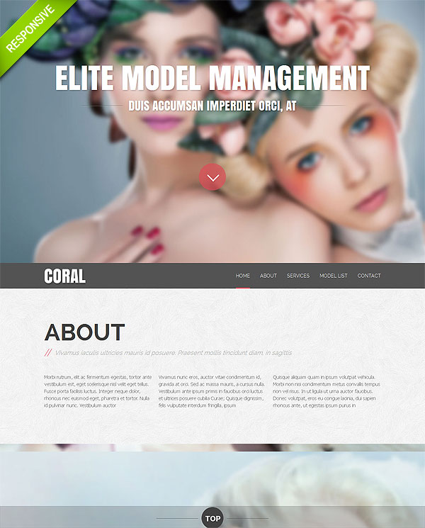 Fashion Models One Page Template