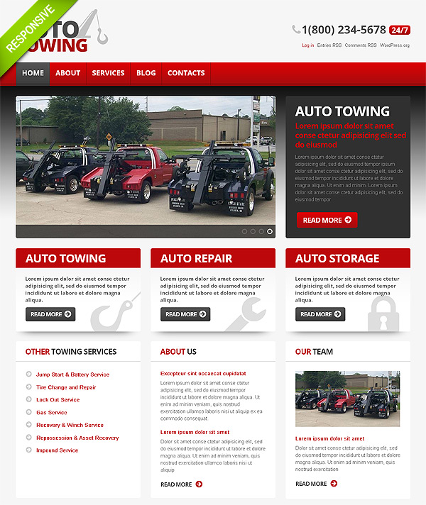 Automotive Towing Wordpress Site