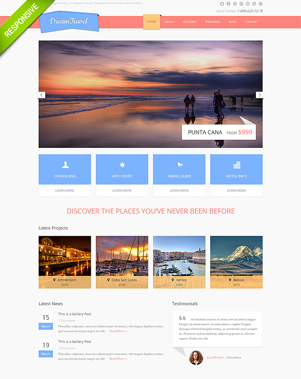 Travel Responsive Bootstrap Website Template