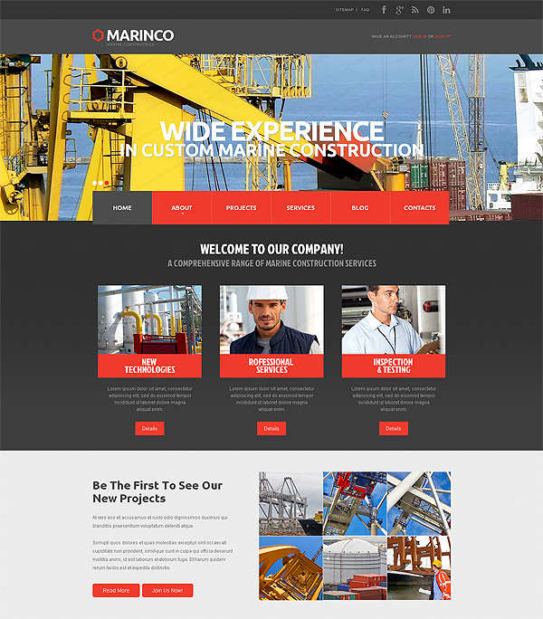 Marine Industries Site Template